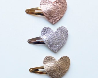 Leather hair clips, heart leather clips, leather hearts, hair clips, baby clips, girls hair clip, leather hair clips, leather snap clips