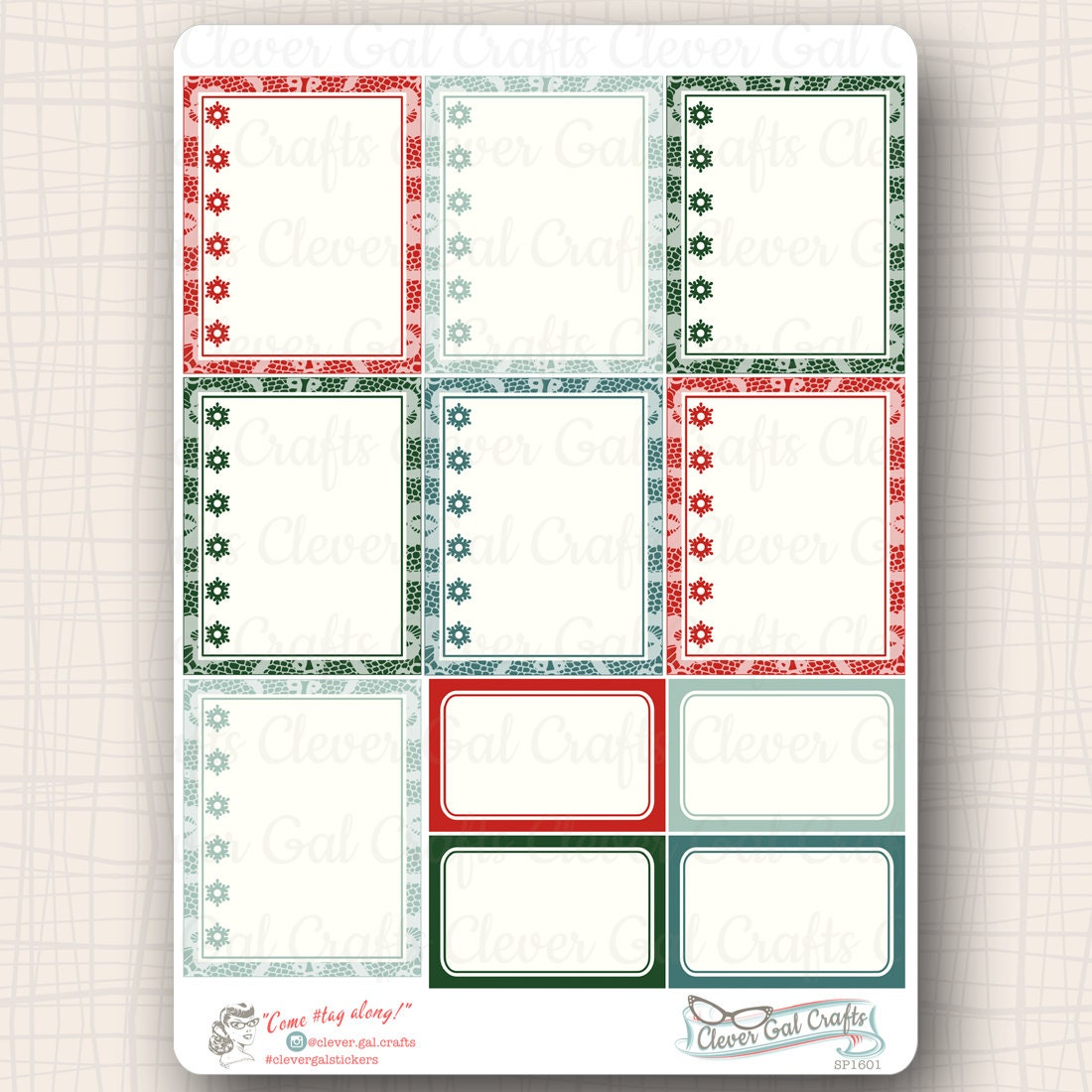 full box planner stickers woodland noel lacy checklists 11 stickers total sp1601 from. Black Bedroom Furniture Sets. Home Design Ideas