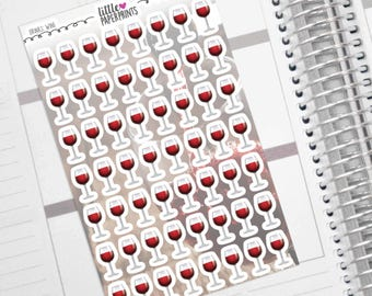 """56 Wine Stickers - """"A Glass of Red Wine"""" Stickers - Exclusive Wine Glasses Decorative Planner Stickers"""