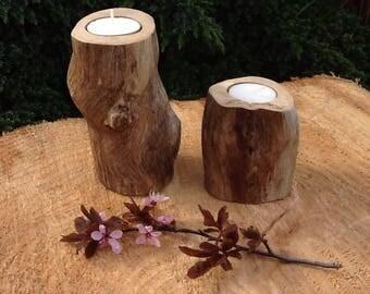 Set of 2 Oak branch Tea light holder/ Rustic candle holders/ Wood Tea light holders/ Natural wood decor/ Centrepiece