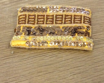 Vintage 1990's Yellow Sequin Beaded Purse - Fully lined, fastening coin purse - Needs some TLC