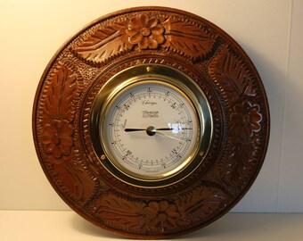 Vintage Barometer, marine Barometer, Weems & Plath barometer, high relief wood, carved wooden case