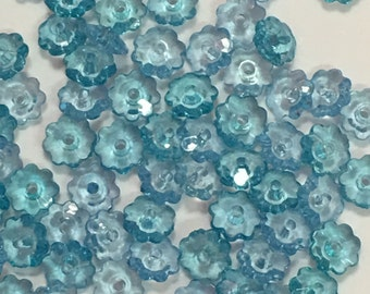 Blue Flower Shape Beads-7mm Blue Flower Shape Beads-100pcs Blue Flower Shape Beads