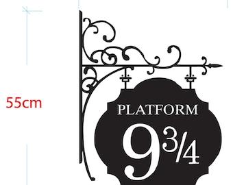 """DIY Vinyl Decal """"Platform 9 3/4 Train Station Sign"""" Harry Potter"""