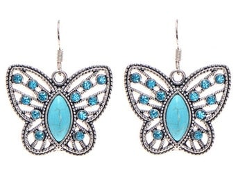 Rhinestone Turquoise Butterfly Drop Earrings, Turquoise Earrings, Valentines Day Gift for Her, Birthday Earrings