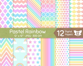 Pastel Rainbow Digital Paper, Soft Color Seamless Pattern, Colorful Tileable Background, Digital Craft Download, Commercial Use