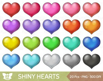 Shiny Heart Clipart, Kawaii Hearts Clip Arts, Cute Bright Love Clip Art, Valentine's Day Sparkling Graphic Download, Commercial Use