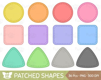 Patched Shapes Clipart, Patches Shape Clip Art, Patch Circle Square Triangle Cliparts, Cute PNG Graphic Download, Commercial Use