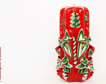 Carved candles-Red green-candles Christmas-unique gift for Christmas-carved candles to buy-candles of carved handmade