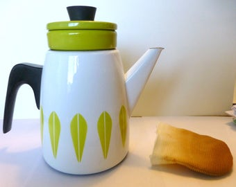 Very rare white/lime green Cathrineholm coffee pot