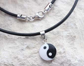 Sterling Silver Yin Yang necklace. Genuine Leather yin yan necklace, or Choose Sterling silver chain. Yin Yan Pendant. Yin Yan charm5324
