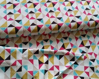 Bright Geometric Triangles Cotton Lycra Jersey Knit Fabric
