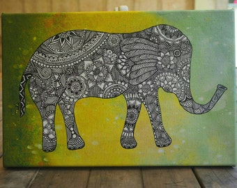 Intricate detailed elephant- stretched canvas print