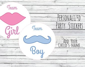 Lips or  Moustache Gender Reveal Party Stickers Team Boy, Team Girl, Baby Shower Voting, Favor Tags, Labels, You Choose Size