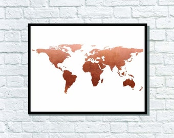 Copper Foil Metallic copper world map atlas poster typography print art home