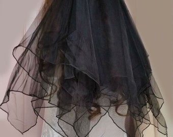Black Hankie Hem Bridal Veil or Girls Night Out Party Veil ~ Black Roses - Australian Made ~ Clearance  SALE ITEM ~ One Only on Sale