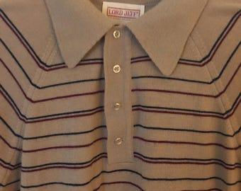 Tan Striped Polo Sweater 1970s