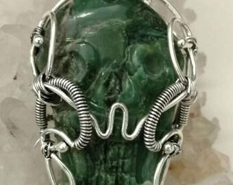 Dark Green Tibetan Turquoise Skull Necklace