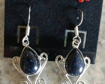 CLEARANCE *Blue Sandstone Dangle Earrings