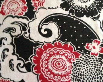 Red, Black and White Floral Design, 100% Cotton
