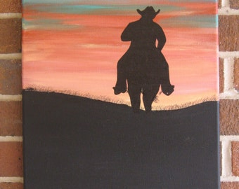 Western Decor Cowboy Painting Horse Painting Sunset Painting Western Art Custom Cowboy Southwest Southwestern Ranch Farm