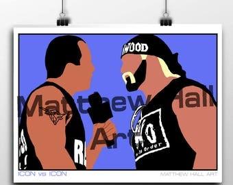 The Rock vs Hulk Hogan Minimalist Print. WWE. WWF. Wall Art. Poster. Gift. Wrestling.
