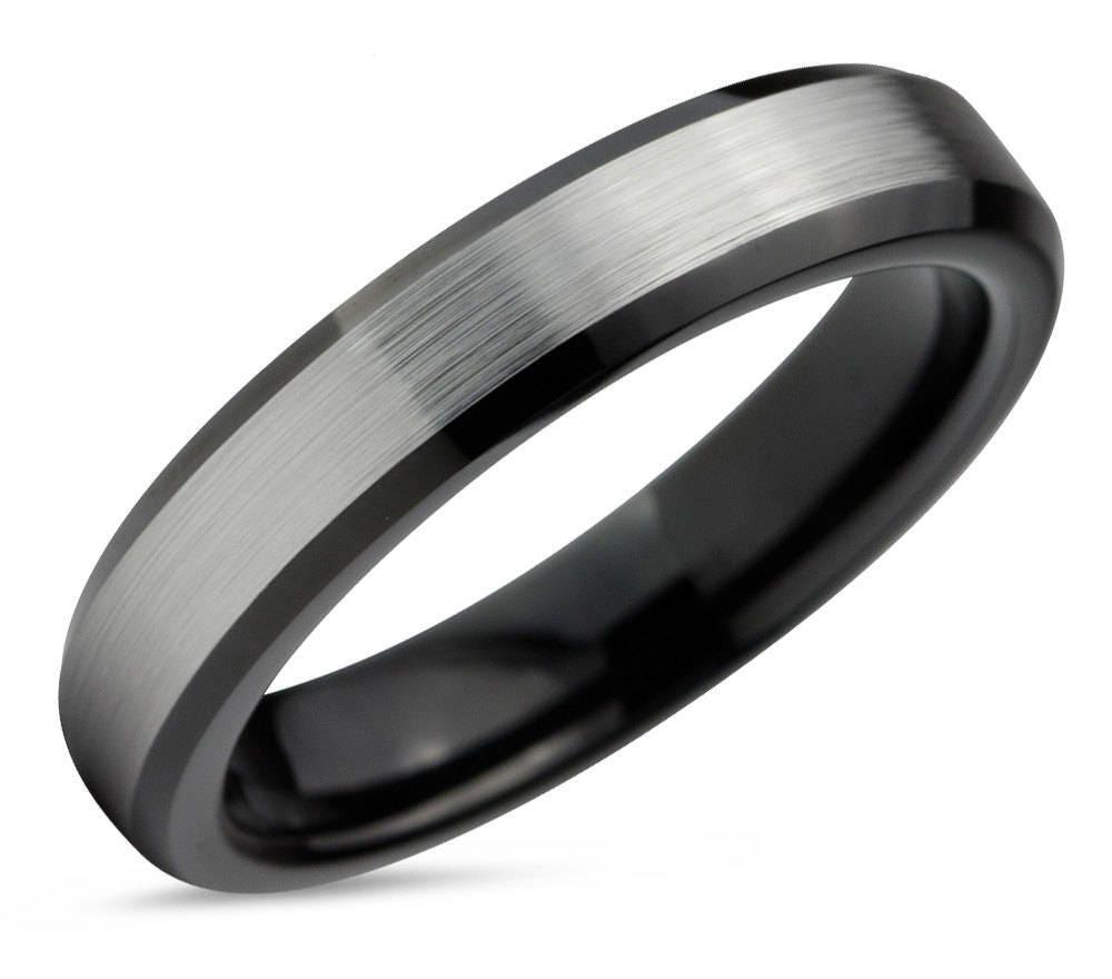 tungsten ring mens brushed silver black wedding band tungsten