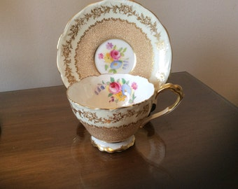Paragon Demitassee Cup and Saucer for Display Cabinet Pinky Beige Floral