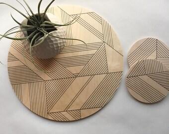 Geometric trivet, Art Deco wood coaster, large coarser, hot pad, trivet, plant plate, centerpiece, minimal modern decor hostess gift