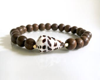 Dark Wood Bead Bracelet with Hebrew Cone Shell