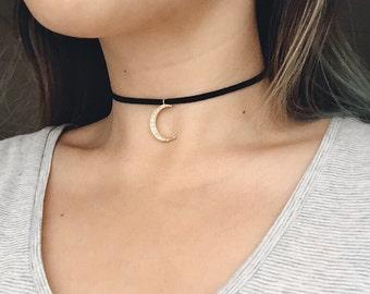Moon Choker Necklace / Cubic Zirconia Moon Choker / CZ Moon Choker / Boho Choker