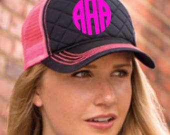 Circle Monogrammed Hat-Choose your hat and thread color!!!