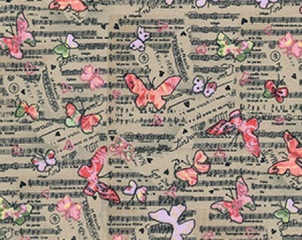 Music and butterflies Design cotton fabric