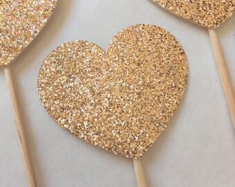 Gold Glitter Heart Cupcake Toppers,Gold Heart Party Cake Topper, Dessert Topper,Gold Wedding Cake Topper,Gold Heart