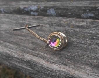 Rainbow Stone, Gold Toned Tie Tack. Lapel Pin. Gift For Groomsmen, Groom, Dad, Anniversary, Birthday, Christmas
