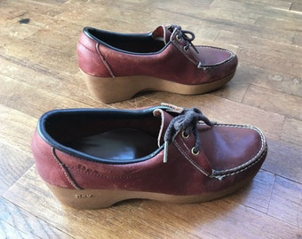 vintage 70s dexter womens platform wedge brown leather lace up loafer shoes size 8