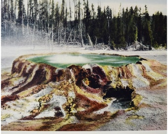 "Haynes Yellowstone Print/ 1920s-30s Vintage Lithograph/ 1887 Early Wildnerness Photograph/ National Park Historic Print/ Unframed 13""x10"""