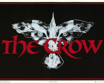 The Crow Logo City Of Angels  1994 Flocked Black Light  Rare Vintage Poster
