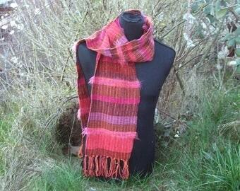 handgewebter scarf, boho, spring summer autumn, brown orange red violet purple pink, cotton, texture, 22 x 180 cm + fringes, ooak