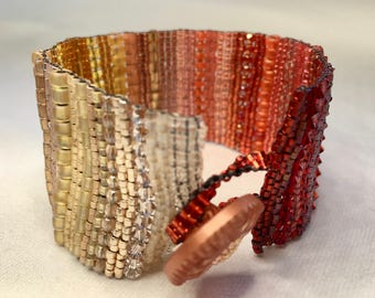Yellow-Red Ombre Hand-Woven Beaded Bracelet