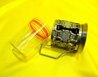 Vintage Cup Holder Tea Glass Holder with Glass, Sovet Russian Podstakannik Melchior Mug Cup USSR, Kitchen Decor, BalMinDi, Gift for her