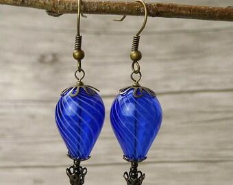 Hot Air Balloon Earrings Blue beads Earrings Statement Earrings Blue Earrings Vintage Earrings Dangle Earrings Boho Earrings Jewelry ED-007