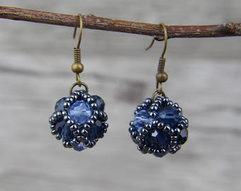 Seed beads Earrings Blue facted Earrings Grass Crystal Beads Earrings Gray Beads Earrings Drop Earrings Boho Earrings ED-050