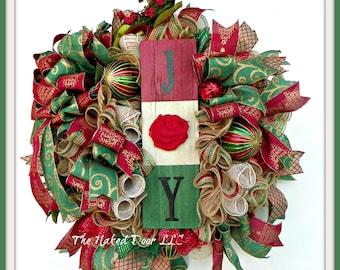 Christmas Wreath - Christmas Joy Wreath - Holiday Wreath - Christmas Gift - Gift for Her - Joy Wreath - Rustic Christmas Wreath