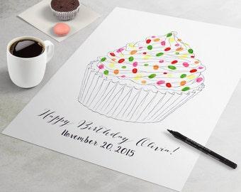 Birthday Guest Book: Cupcake fingerprint guest book for birthday party similar to fingerprint tree. thumbprint tree, guest book alternative