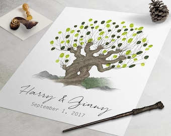Harry Potter Wedding Guest Book: Whomping Willow fingerprint guest book, fingerprint tree, thumbprint tree, nerdy guestbook alternative