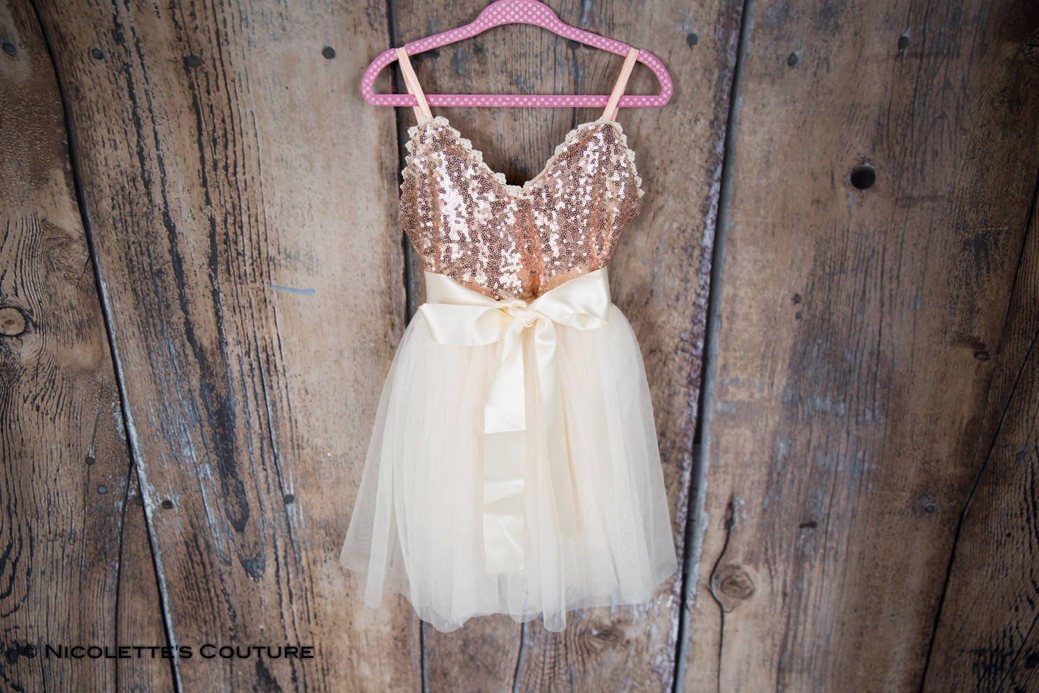 Rose Gold Flower Girl Dress Cream Tulle Sash Belt Set Rose