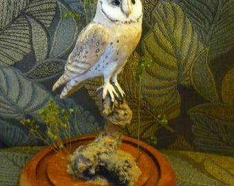Barn Owl hand-painted sculpture.
