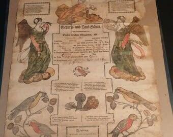 1820 Dell family birth/baptismal certificate - Bern Twp. Berks County PA