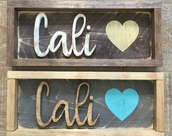 California Love Hand Carved Sign